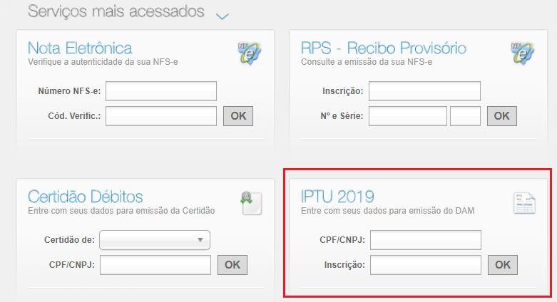 Emissão da 2ª via do IPTU Boa Vista 2020