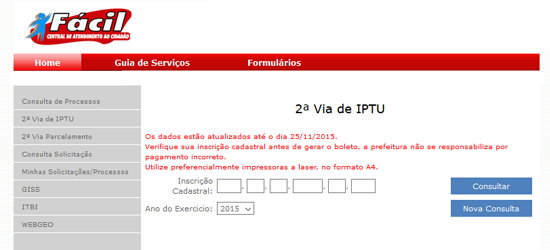 Consulta IPTU do município de Guarulhos